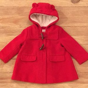 Baby Gap 12M-18M Red Tweed Coat Toggle Button Hood